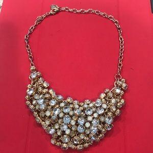 Jewelry - Graziano Cluster Stone Necklace Gold Tone
